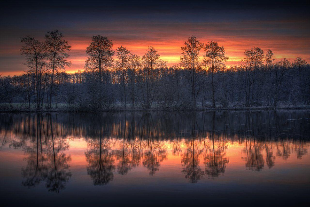 schwentine, schleswig-holstein, sunrise, reflection, Dirk Juergensen
