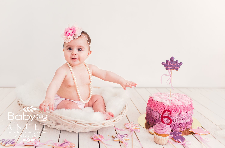 Smash cake,первый тортик,девочка,торт,6мес,бусы,студия, Анастасия Нагорная