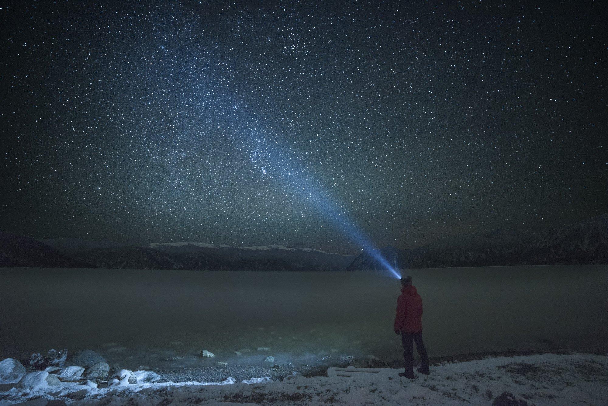 природа, пейзаж, звезды, небо, ночь, горы, озеро, Дмитрий Старостенков