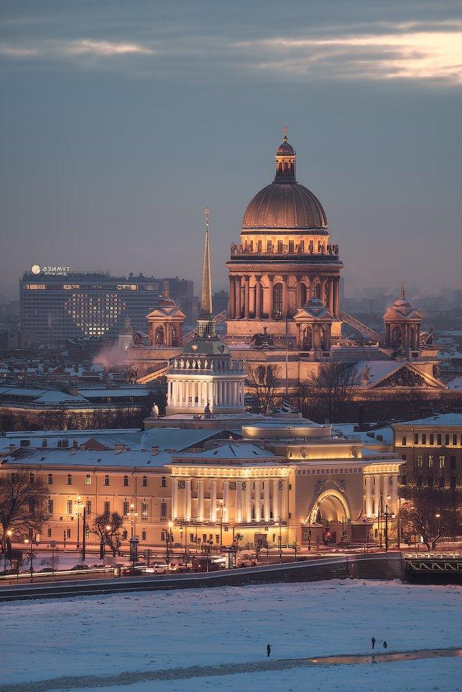 Адмиралтейство, Азимут, Вечер, Зима, Исаакиевский собор, Нева, Отель, Санкт петербург, Сердце, Sergey Louks