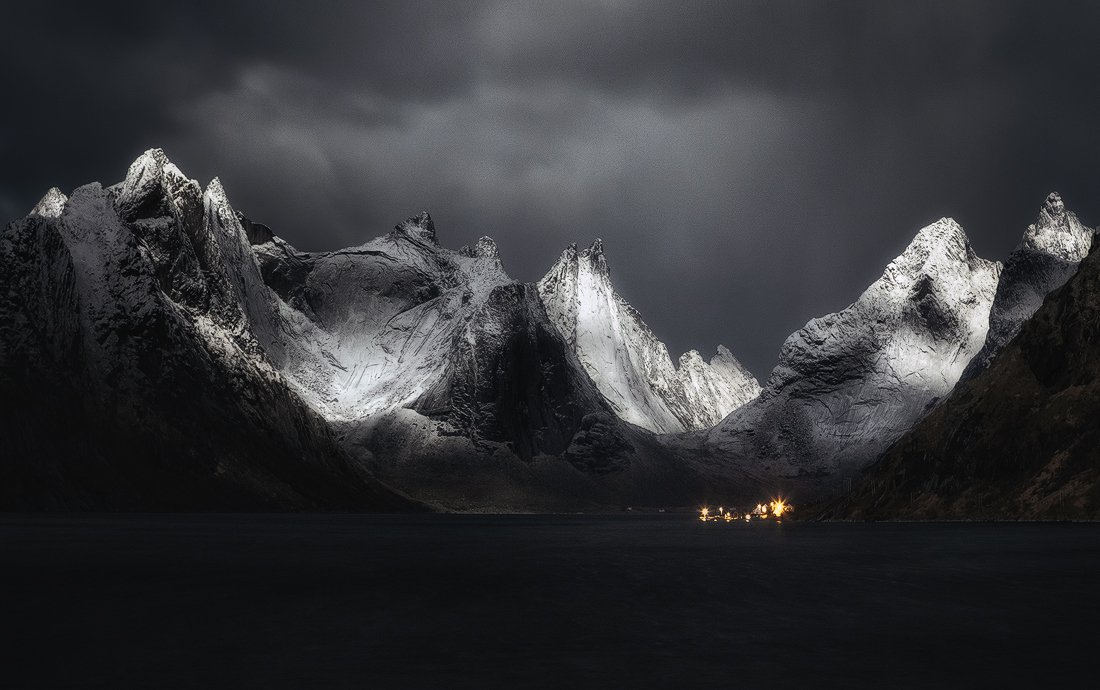 lofoten, norway, snow, winter, fjord, village, night, , Ivan Miladinov