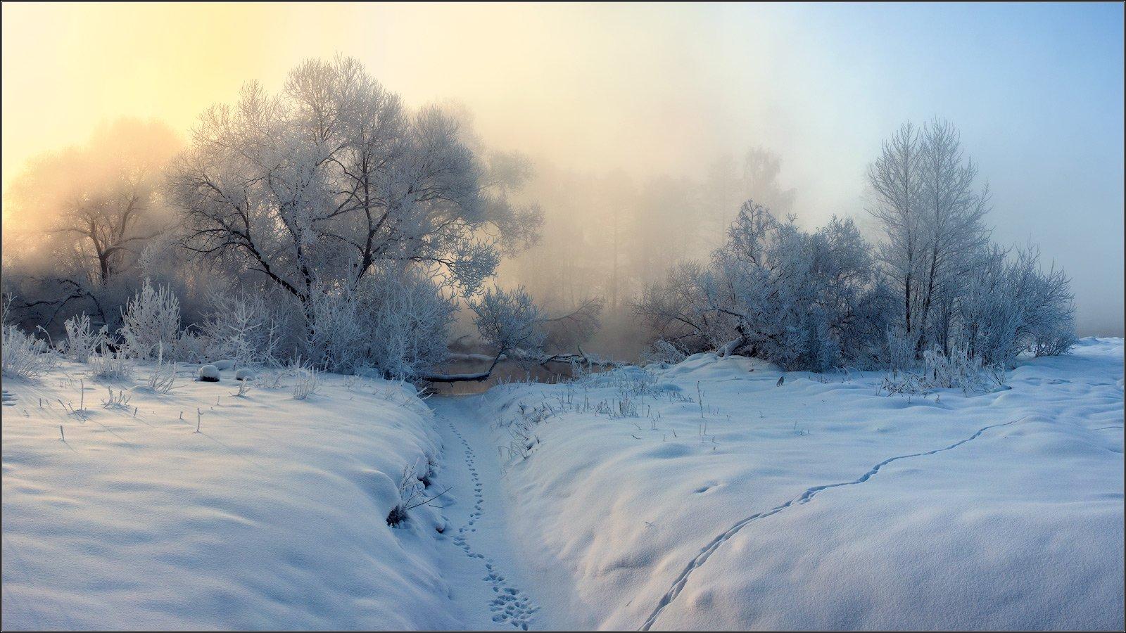 Зима, Рассвет, Река, Снег, Туман, wwwarjag