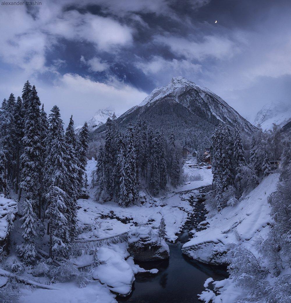 горный пейзаж, домбай, зима, пейзаж, Александр Трашин