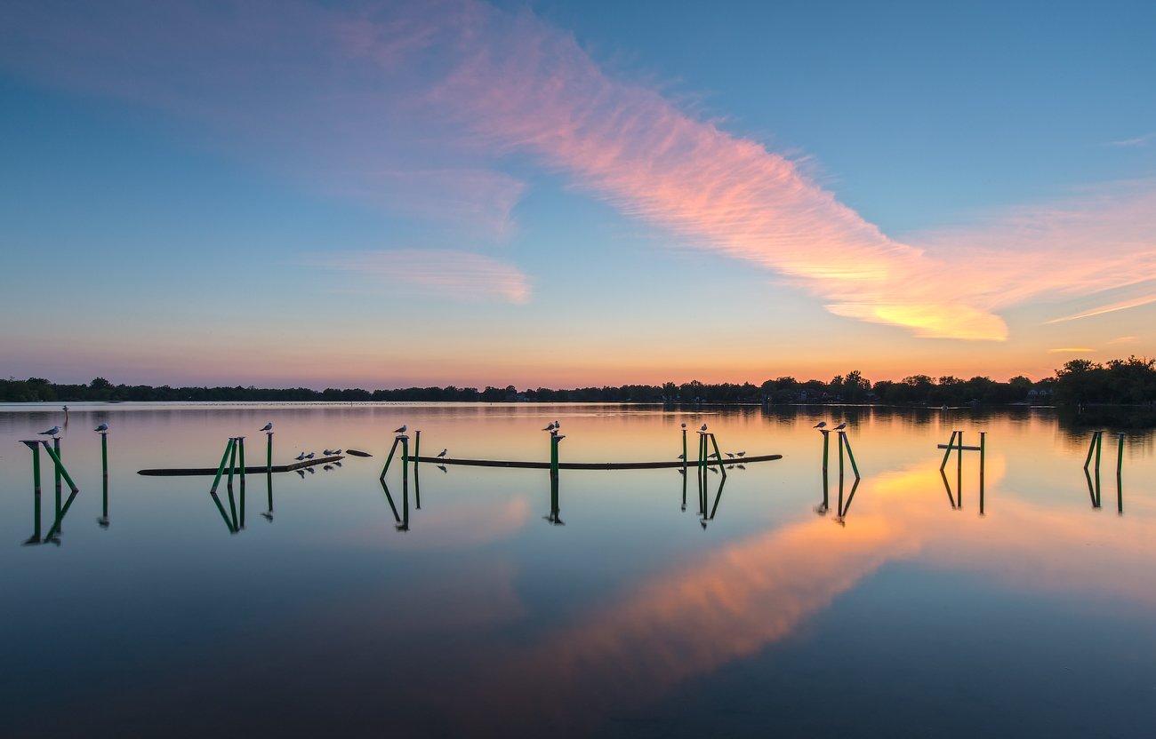 Birds, Clouds, Lake, Reflection, Облака,, Озеро,, Отражение,, Птицы,, G A S