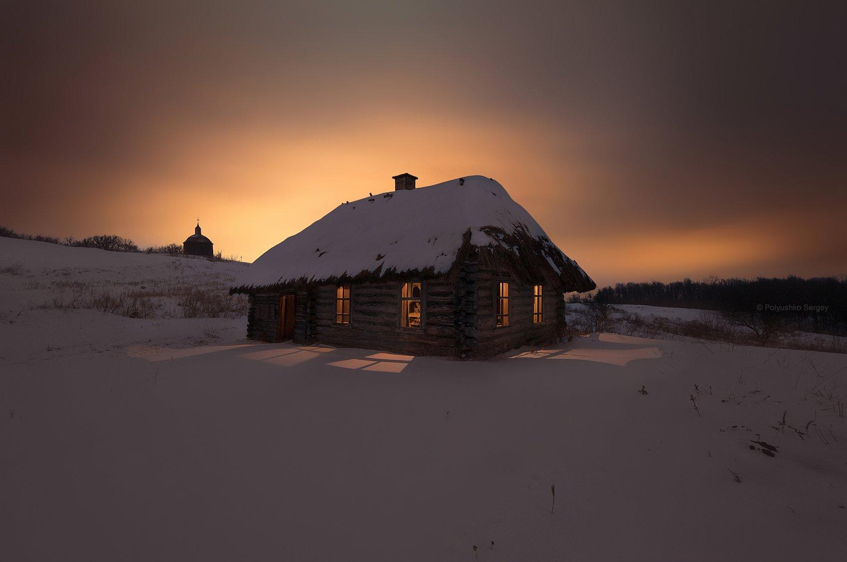 Зима, Ночь, Снег, Украина, Полюшко Сергей