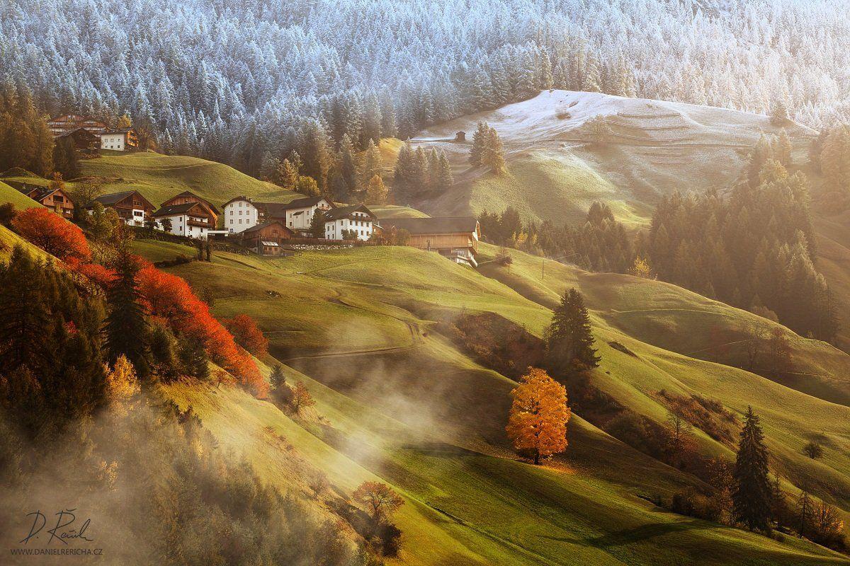 Italy, Alps, South Tyrol, Tyrol, Dolomites, Wengen, Alta Badia, La Valle, autumn, mist, fog, morning, mountains, europe, beautiful morning, light, houses, meadow, autumn, colors, villages, winter, colors, morning colors, alpine meadow, autumn landscape, d, Daniel Rericha