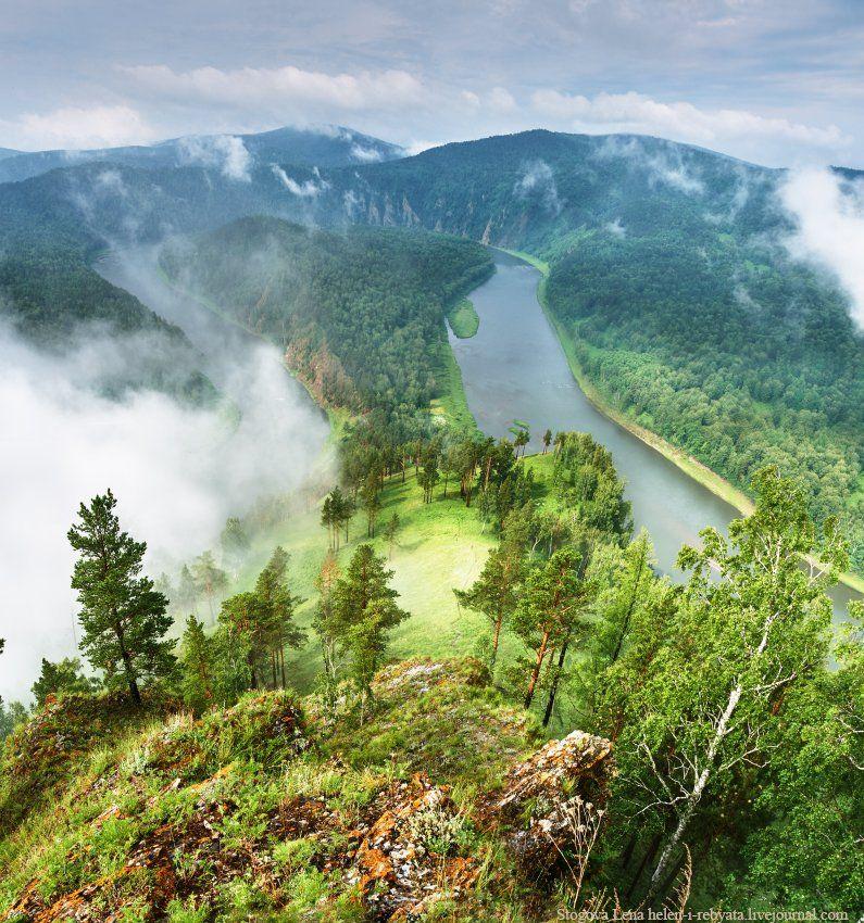 Гора, Мана, Река, Туман, Лена Стогова
