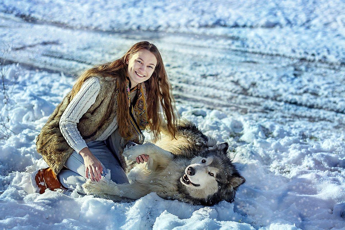Девушка, Зима, Маламут, Портрет, Снег, Собака, Утро, Юлия Сафонова
