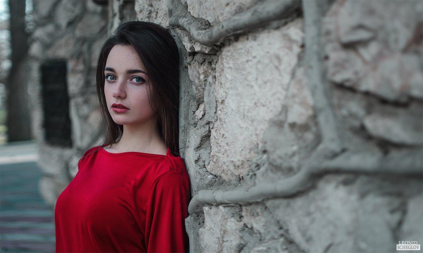 girl, red, portret, hair, beautiful, Леонид Щеглов