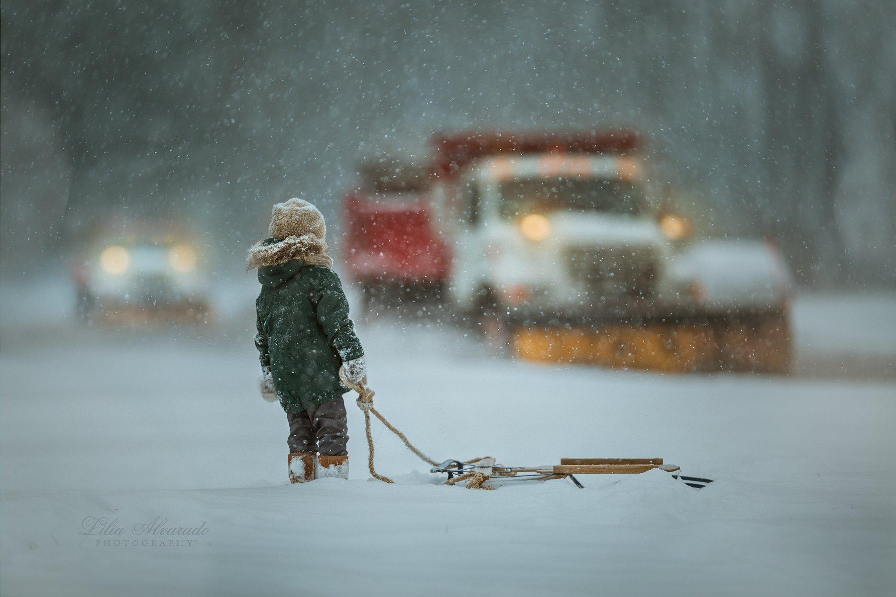 Child, Sled, Snow, Winter, Lilia Alvarado