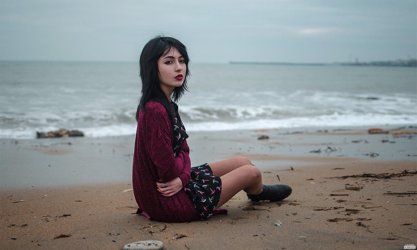 girl, red, portret, hair, beautiful, sea, Леонид Щеглов