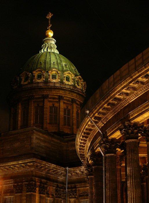 собор, казанский, питер, ночь, крест, купол, санкт-петербург, tanatos
