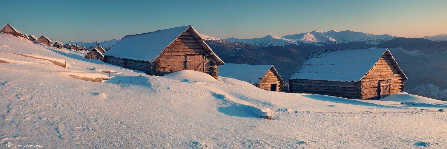 горы, карпаты, панорама, пейзаж, зима, котенко, Котенко Александр