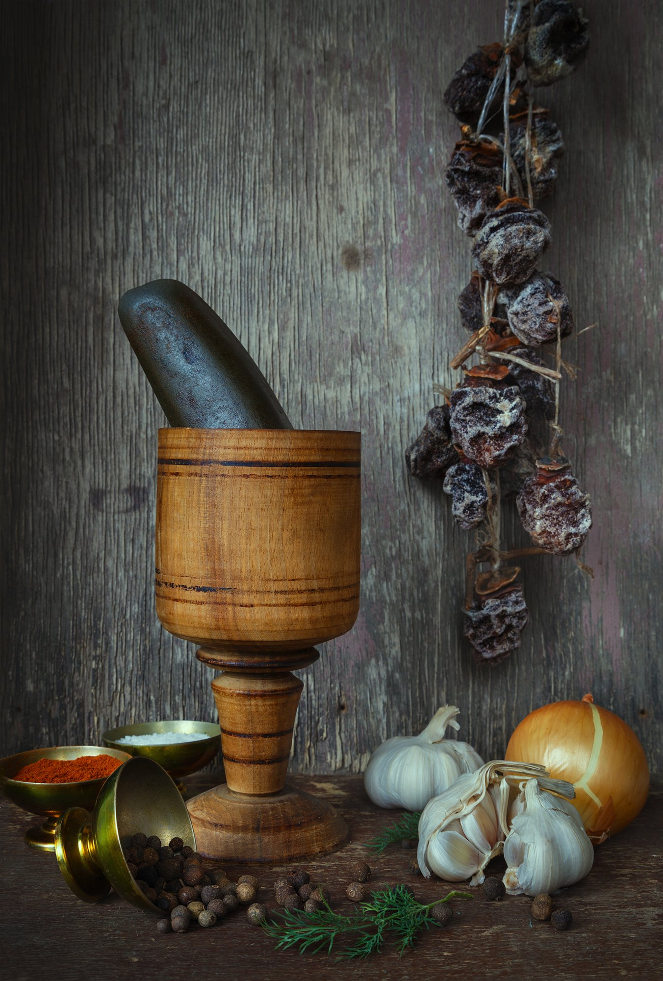 Dried, Garlic, Onion, Spices, Still life, Winter, Mindia Charkseliani