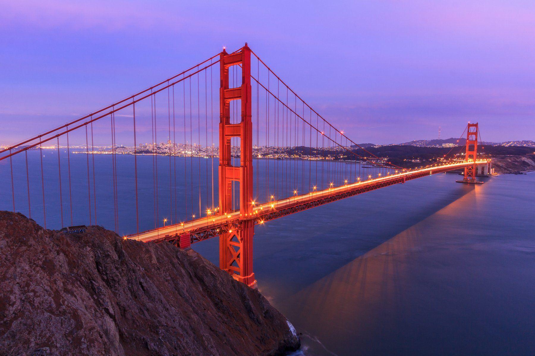 золотые ворота, мост, калифорния, сан франциско, бухта, океан, море, вода, закат, восход, Сергей Гарифуллин