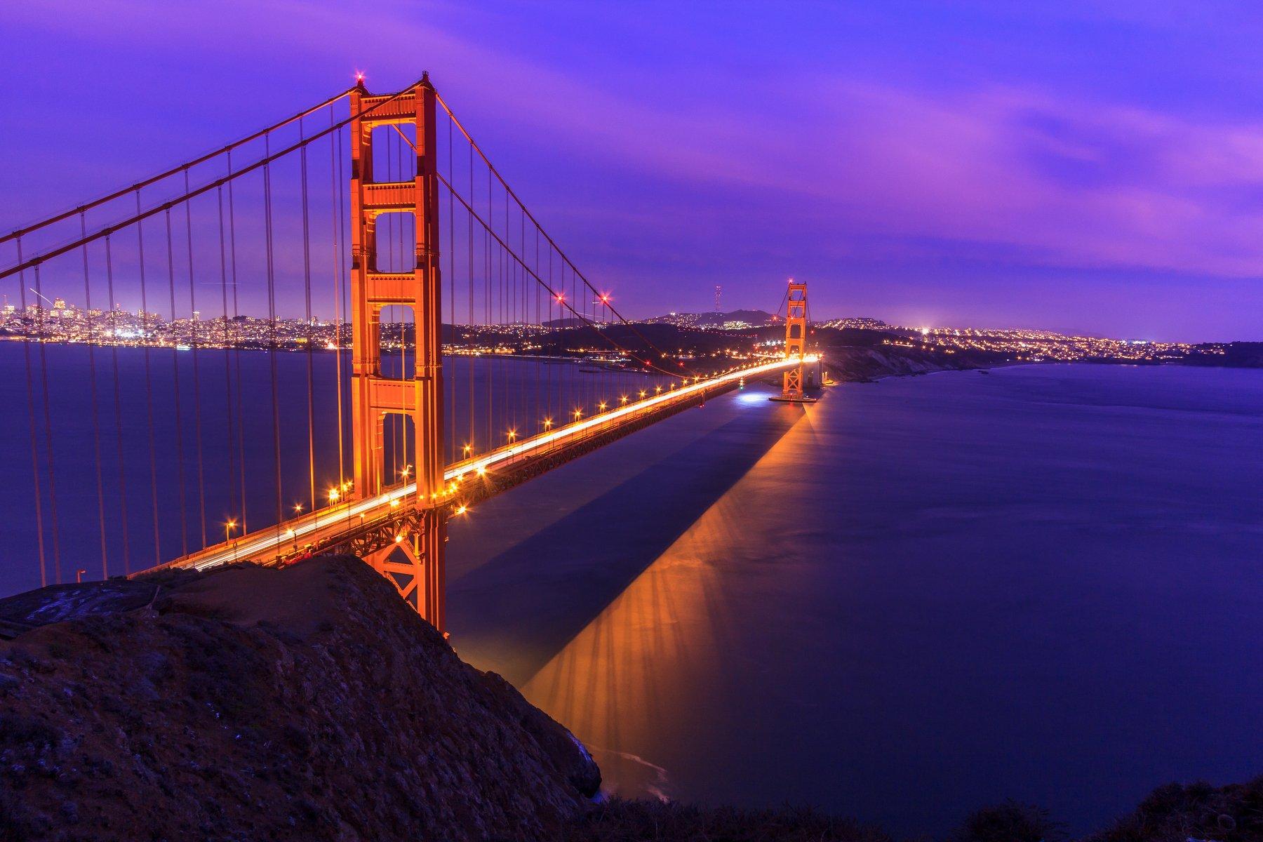 золотые ворота, мост, калифорния, сан франциско, бухта, океан, море, вода, закат, восход. , Сергей Гарифуллин