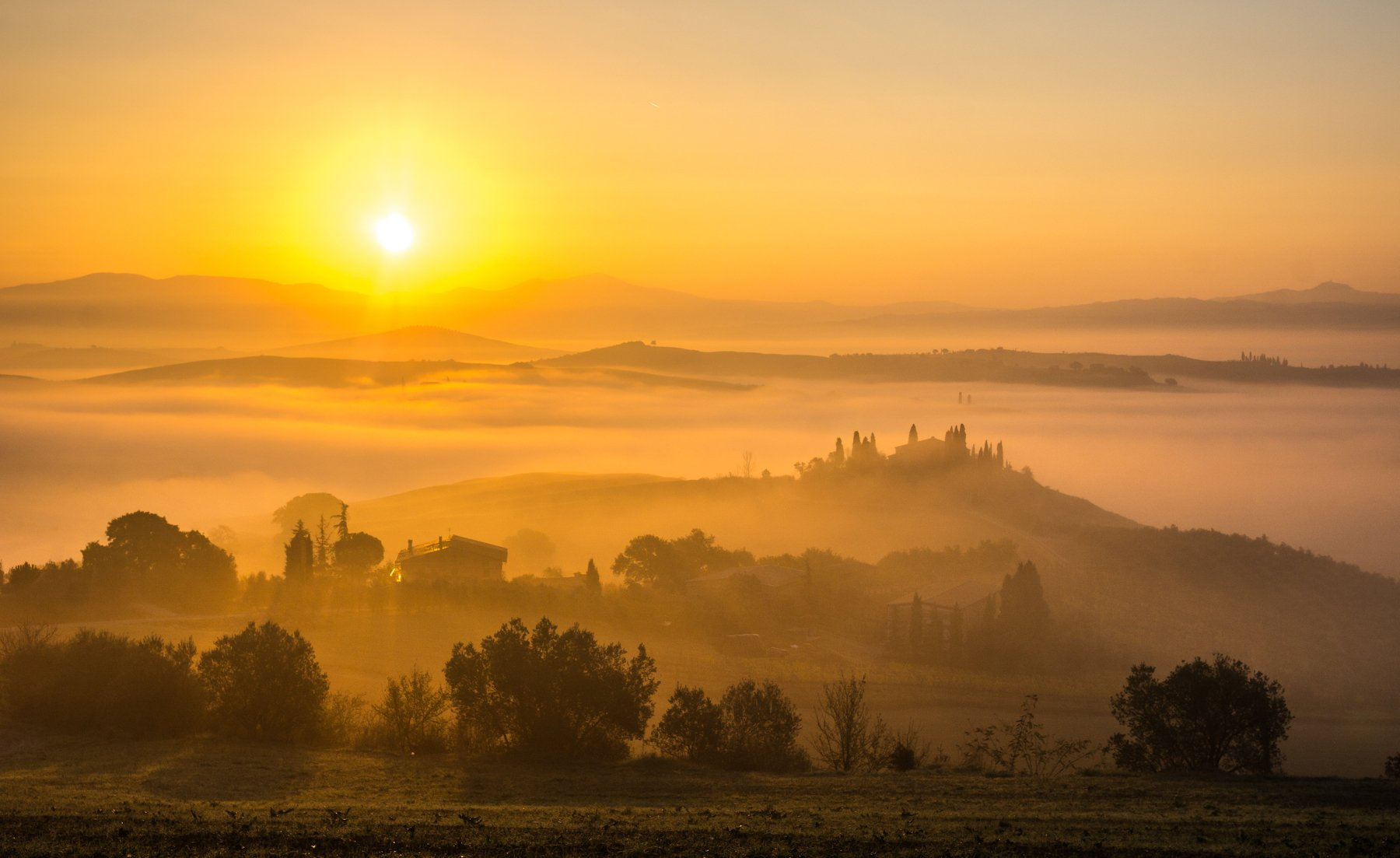 тоскана, природа, утро, туман, пейзаж, италия, путешествие, европа, д'орча,  tuscany, nature, morning, fog, landscape, italy, journey, europe, d'orcia, Ashot Grigoryan