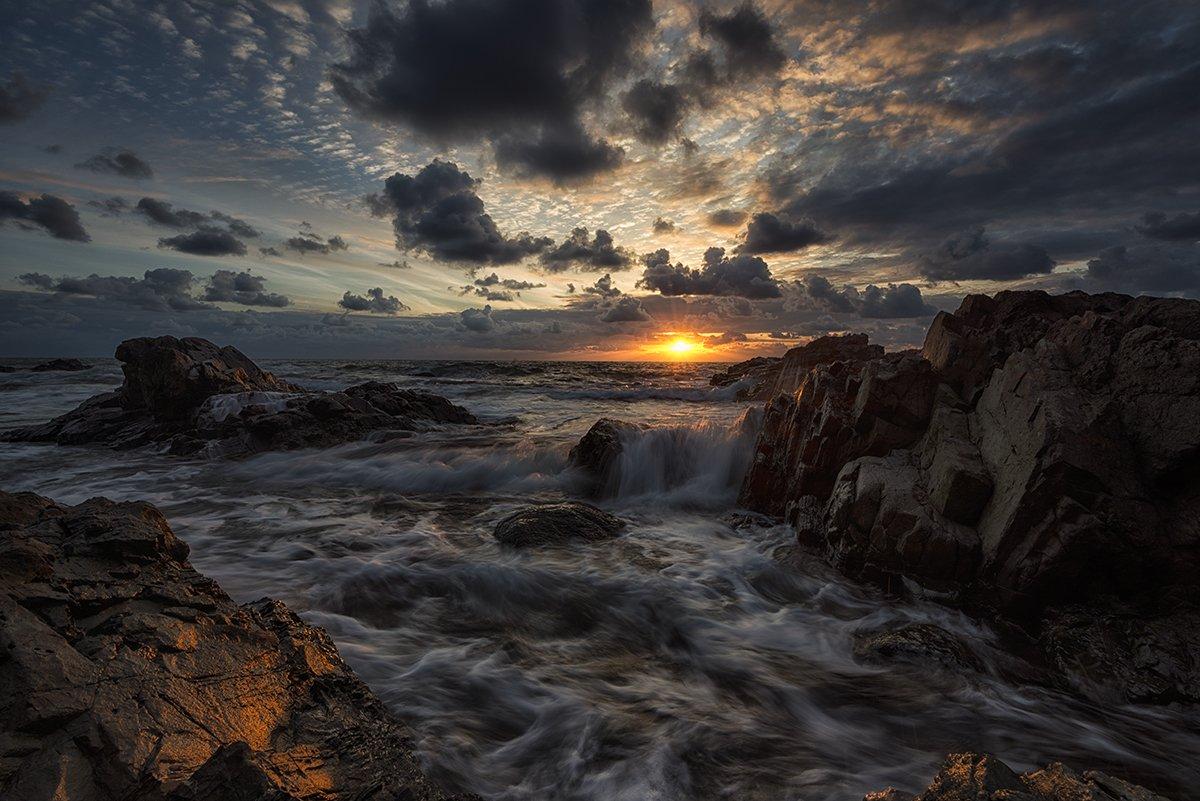 Clouds, Colorful, Landscape, Rocks, Seascape, Sky, Sunrise, Waves, Весела Маринова