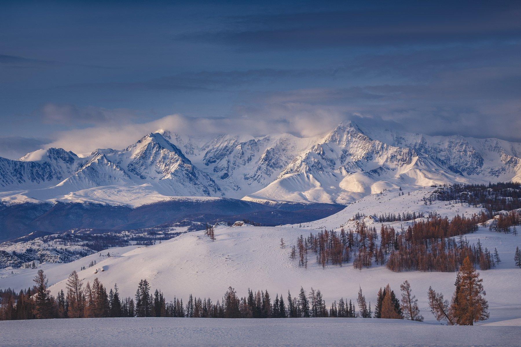 Алтай, Горы, Зима, Пейзаж, Природа, Рассвет, Россия, Снег, Купрацевич Дмитрий