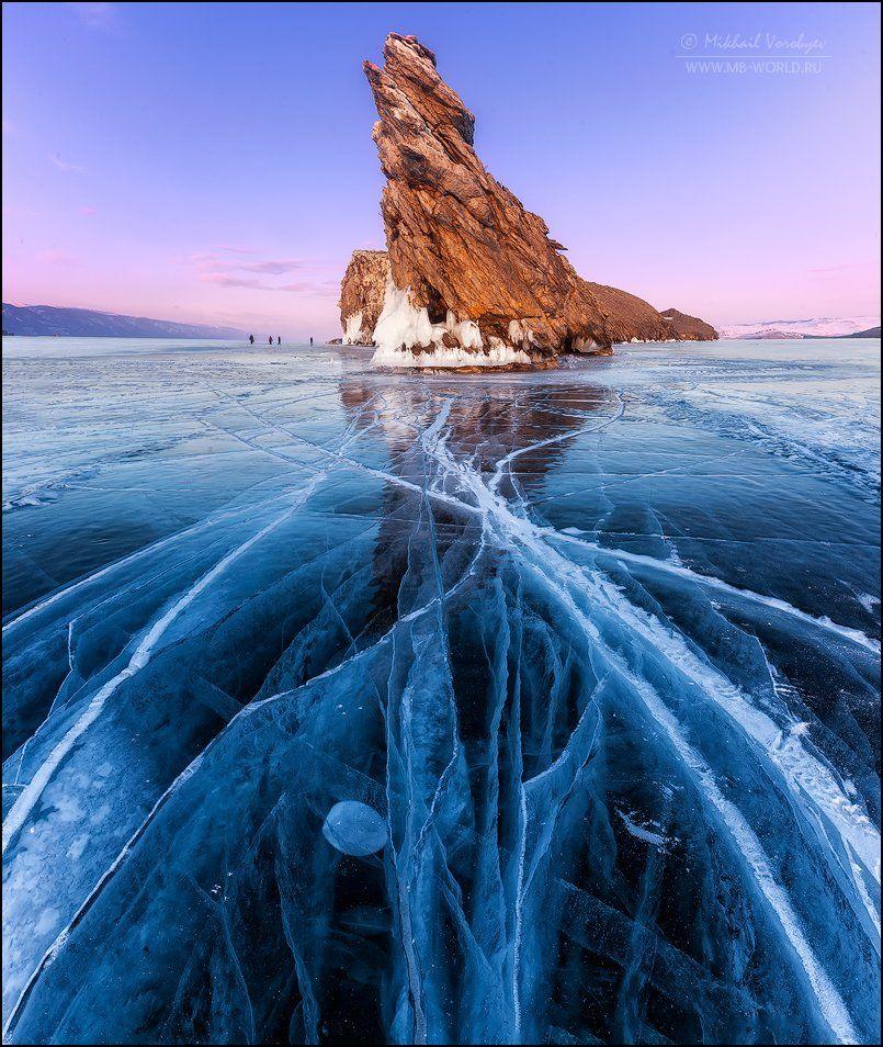 Россия, Байкал, зима, лед, узоры, закат, Михаил Воробььев