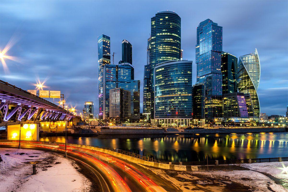 Вечер, Город, Москва, Сити, Симонян Сергей
