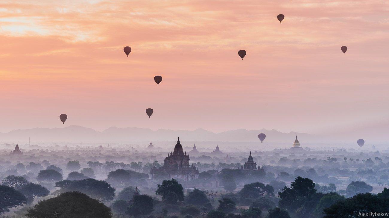 рассвет, пейзаж, Баган, Мьянма, шары, воздушные шары, храм, Александр Рыбаков