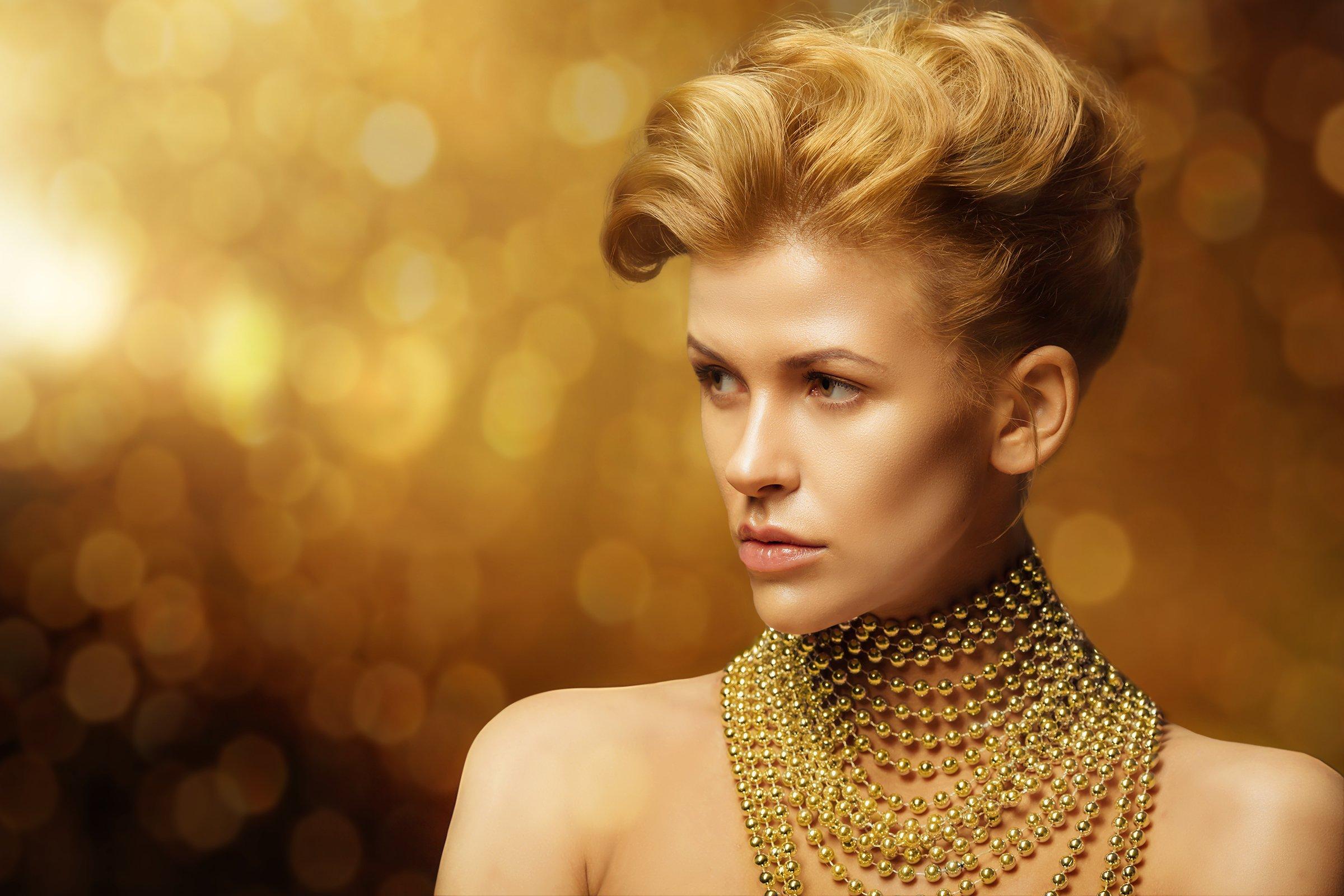 Dior, Боке, Бусы, Желтый цвет, Портрет девушки, Студийный портрет, Фёдоров Денис