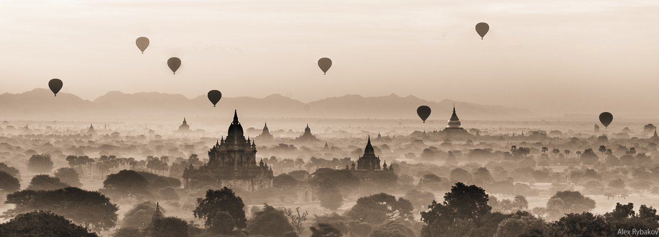 Баган, Воздушные шары, Мьянма, Путешествие, Рассвет, Туман, Храм, Александр Рыбаков