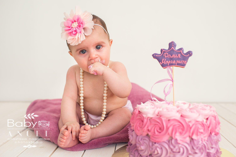 первый тортик, smash cake, девочка,ребенок, день рождение, Анастасия Нагорная