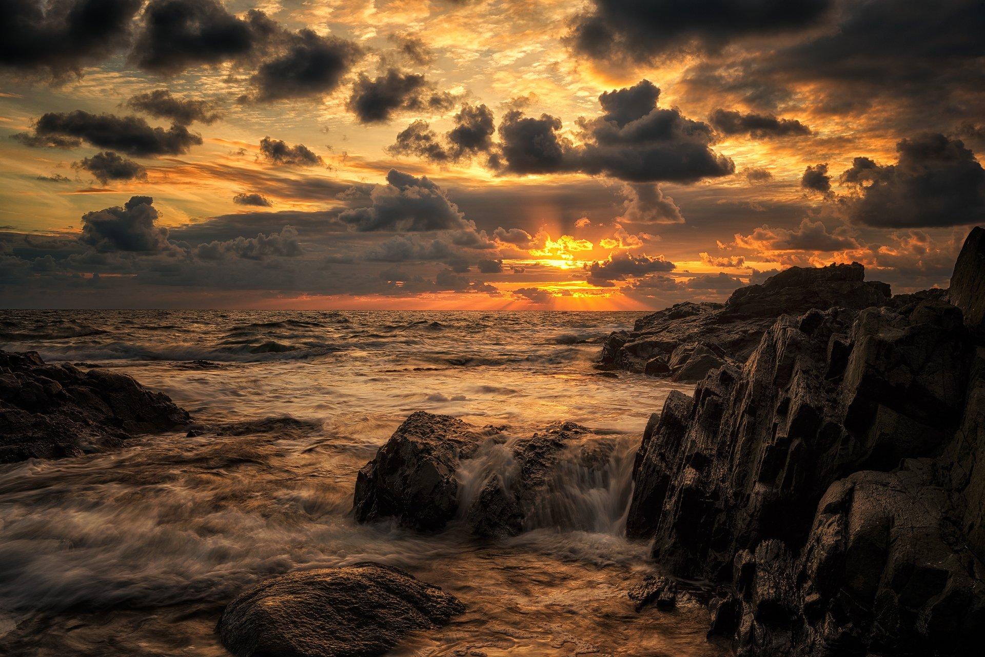 Золото, Море, Небо, Облака, Пейзаж, Рассвет, Солнце, Весела Маринова