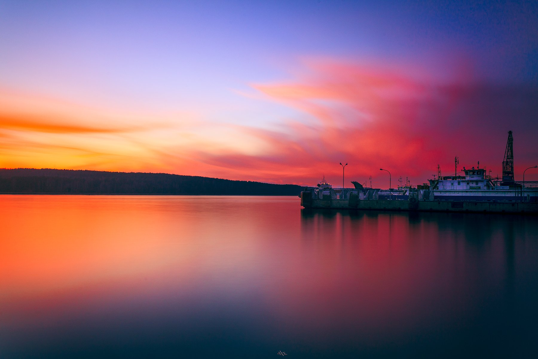 Colors, Ferry terminal, Klaipeda, Lithuania, Long exposure, Port, Sunset, Руслан Болгов (Axe)