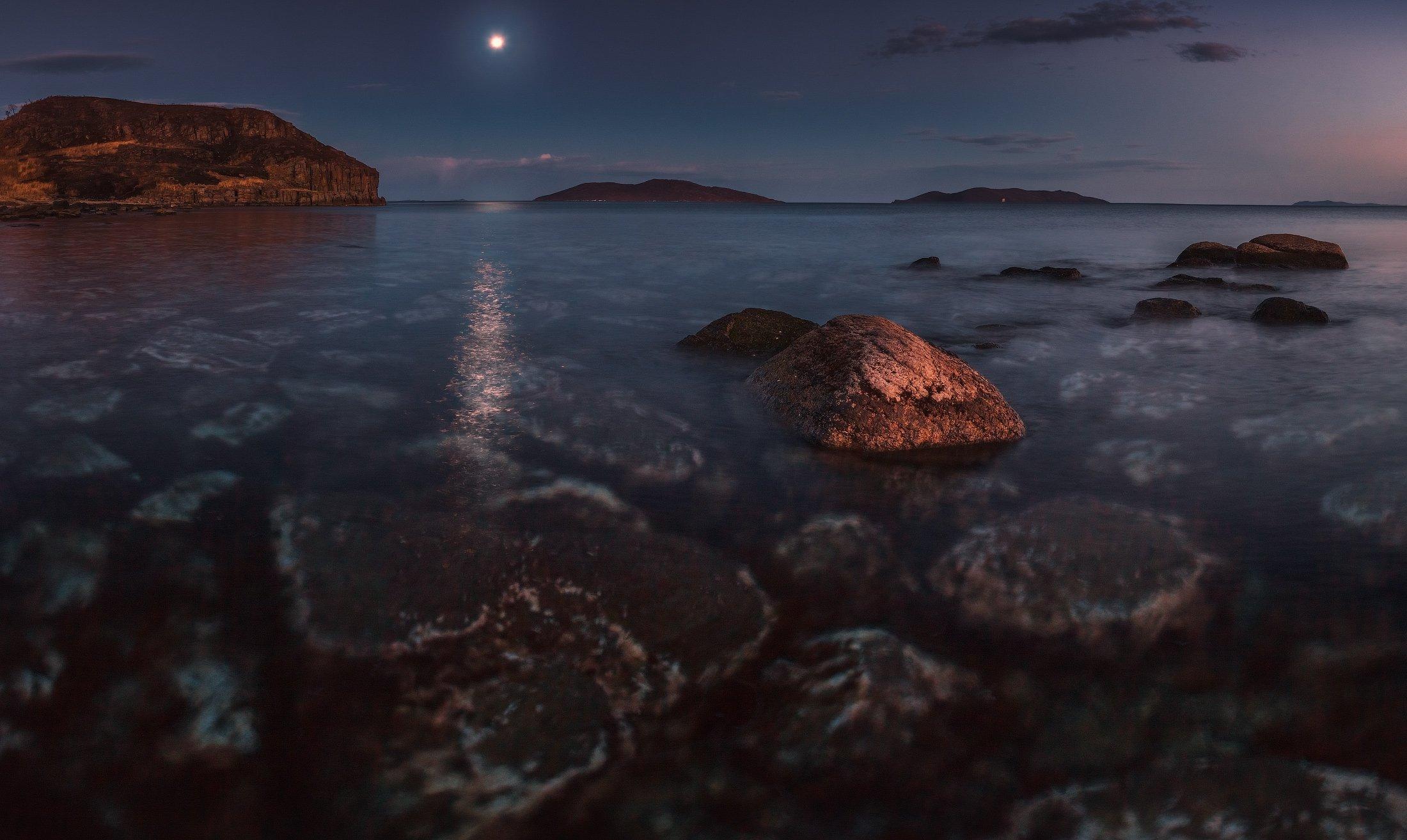 Камень, Луна, Море, Скалы, Сумерки, Андрей Кровлин