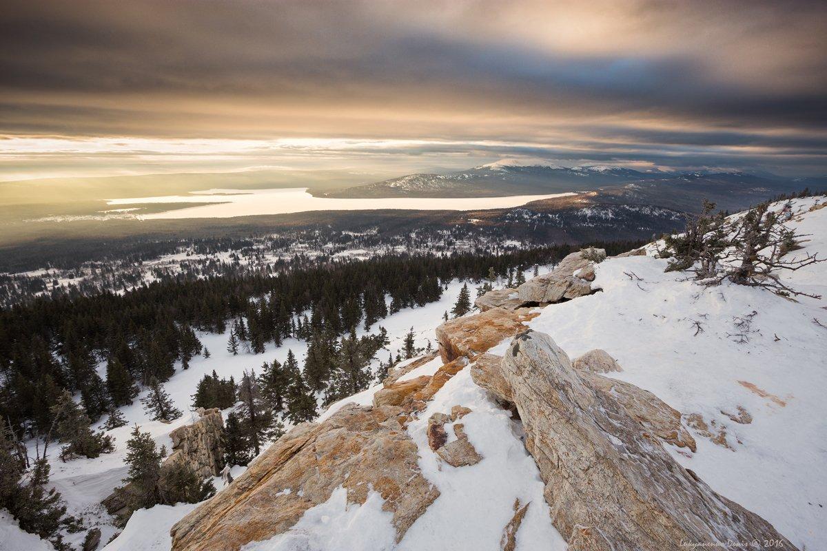 2016, зима, урал, горы, озеро, рассвет, утро, снег, свет, небо, облака, деревья, лес, Лукьяненко Денис