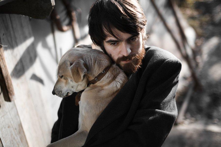 собака, парень, пёс, пес, холод, солнце, Сергей Белых