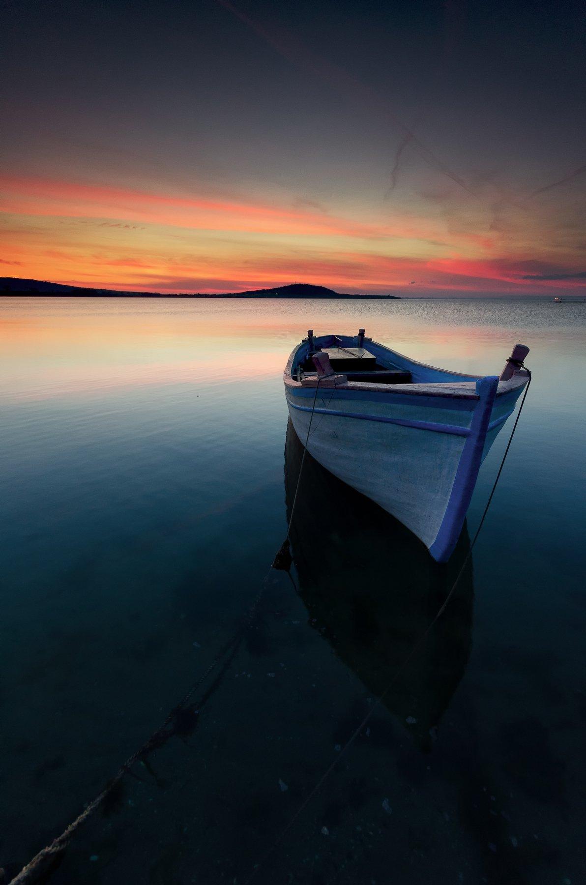 Black sea, Boat, Clouds, Coast, Fineart, Landscape, Reflection, Rocks, Sea, Seascape, Sky, Sun, Sunset, Water, Иван Димов
