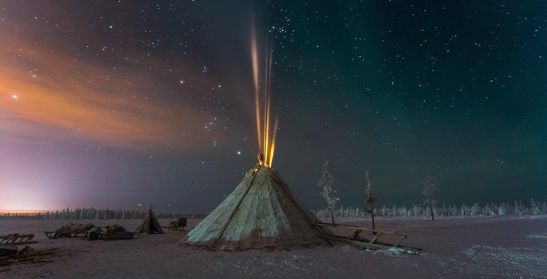 ямал, чум, зима, мороз, ночь, небо, звезды, северное сияние, север, пейзаж, россия, Кирилл Уютнов