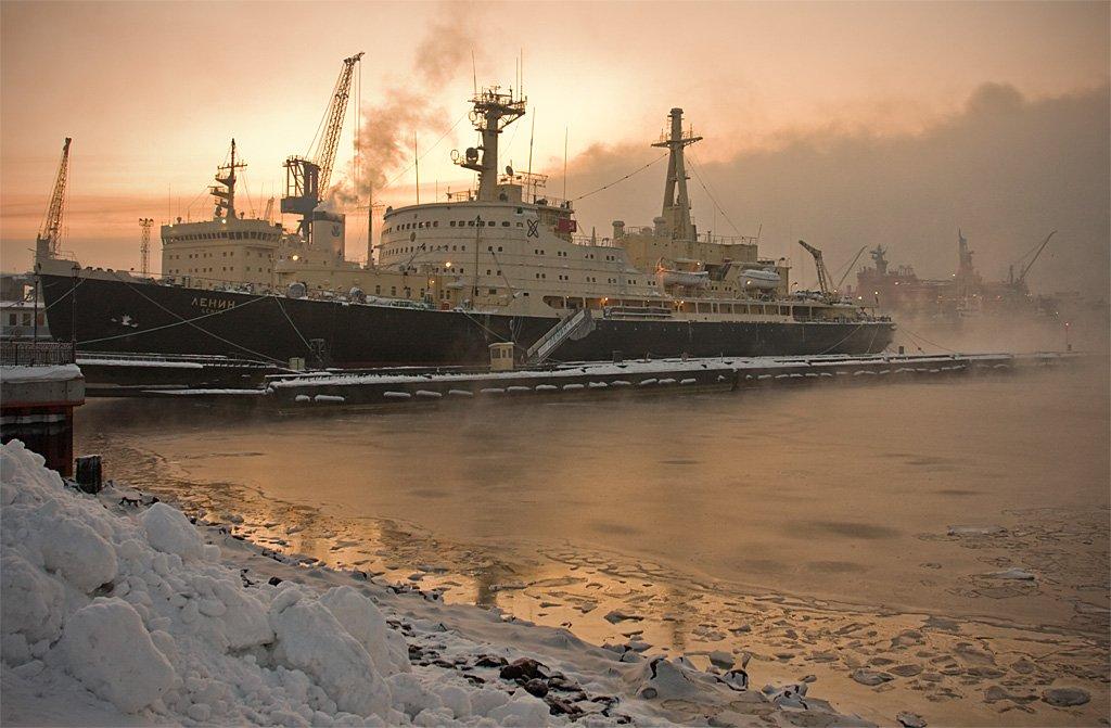 мурманск, ледокол, ленин, морской, порт, зима, locus