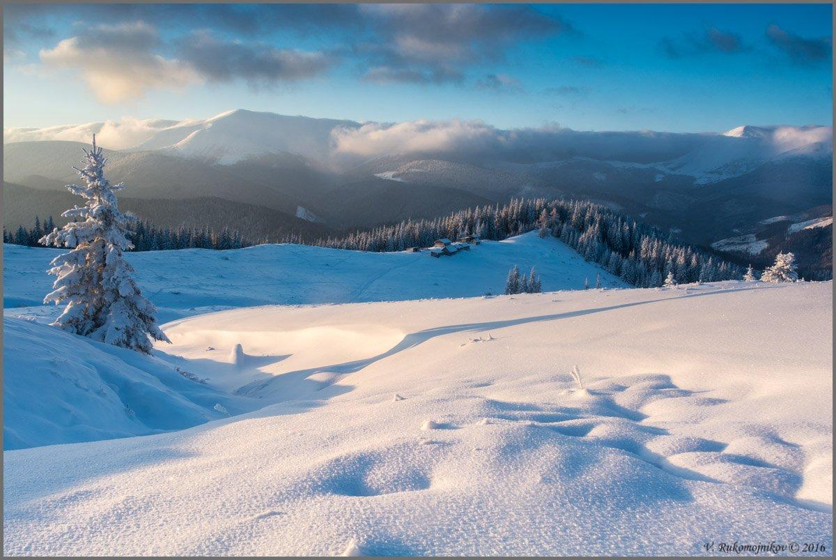 Горы, Зима, Карпаты, Кукул, Рассвет, Снег, Украина, Рукомойников Валентин