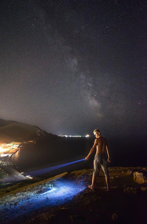 Млечный Путь, Звезды, Галактика, Ночь, Портрет, Море, Пейзаж, milkyway, Galaxy, stars, night, sea, Андрей Колобов