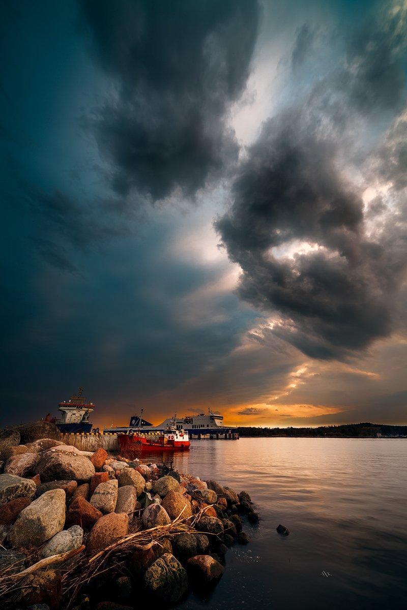 Clouds, Klaipeda, Lithuania, Port, Storm, Sunset, Руслан Болгов (Axe)