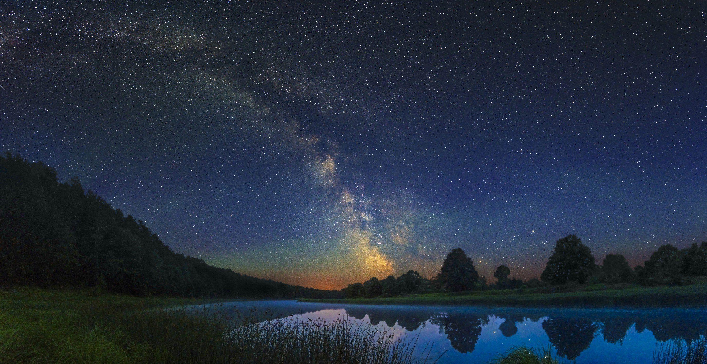 Млечный путь, звезды, звездное небо, ночь, ночной пейзаж, стрелец, галактика, астрофото, река, старик, озеро, вода, лес, деревья, ночной пейзаж, пейзаж, Харланов Никита