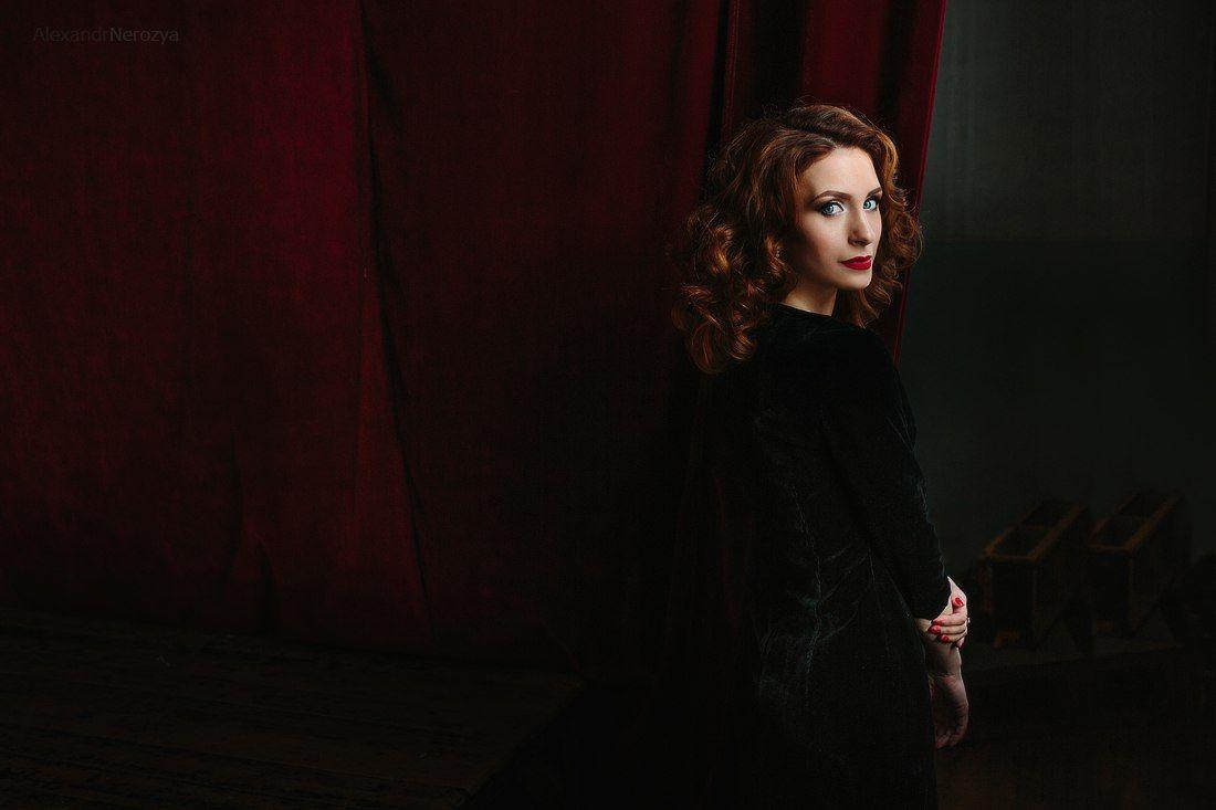портрет, девушка, театр, занавес, красивая, секси, нерозя, portrait, beauty, woman, Aleksandr Nerozya