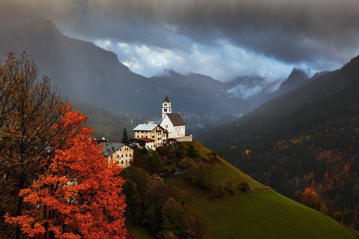 Alps, Church, Clouds, Colors, Dolomites, Dolomiti, Europe, Italy, Landscape, Light, Martin rak, Mountains, Nature, Travel, Trees, Village, Martin Rak