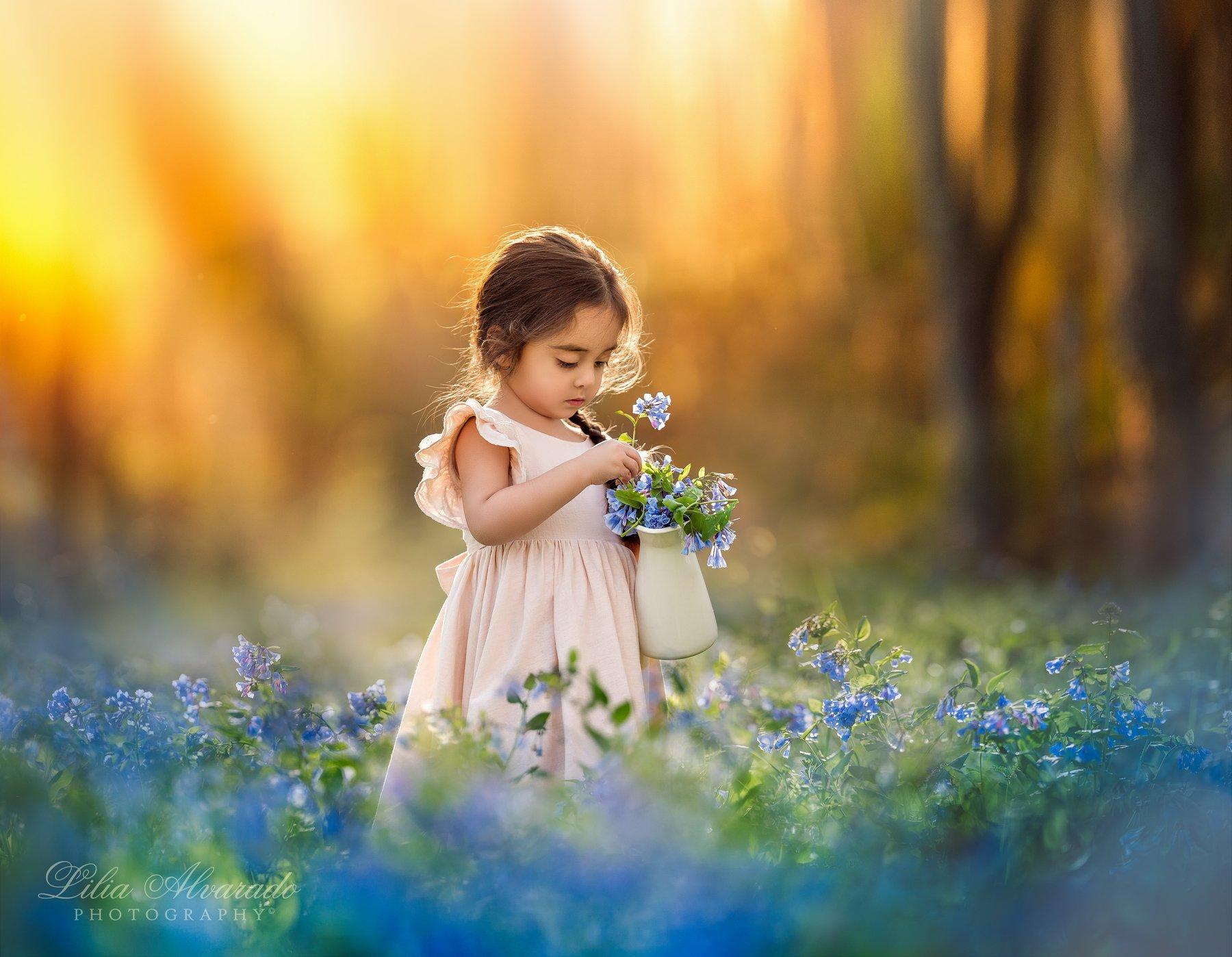 bluebells,spring,field,flowers,candid,child,girl,thoughtful,calm,poetic, brunette, Lilia Alvarado