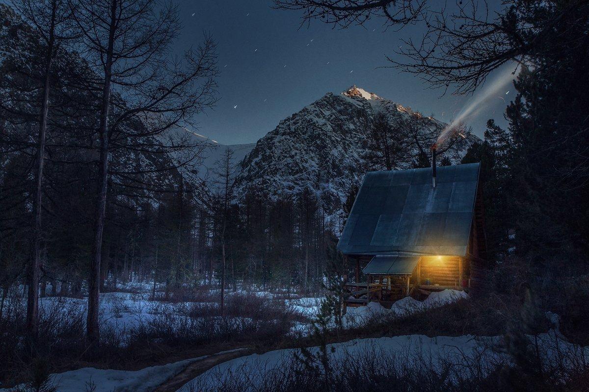 best, house, landscape, mountains, photo, smoke, stars, Vladim_Shipulin
