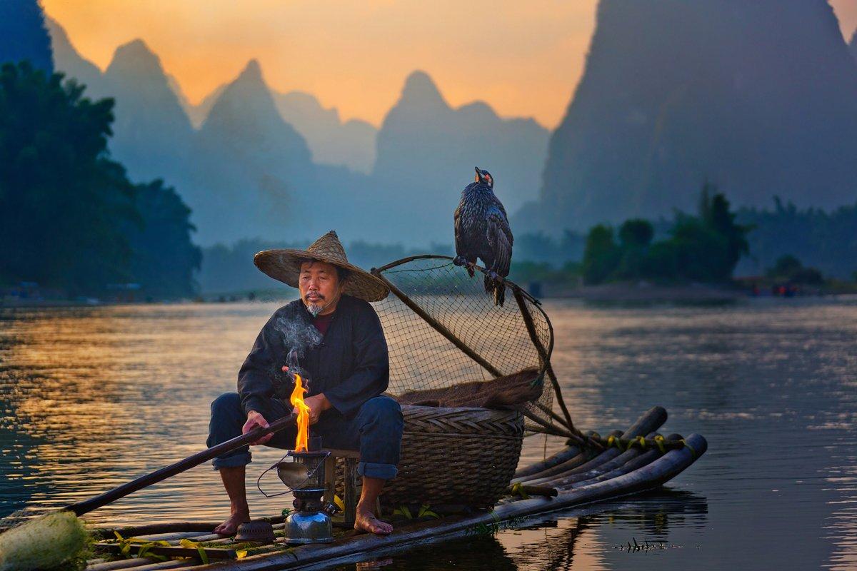 китай, закат, река ли, баклан, рыбак, Slavado