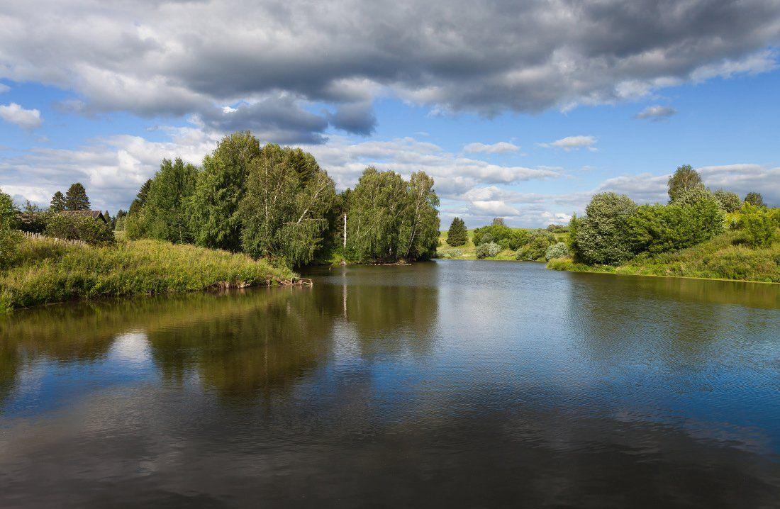 Озеро вода пруд трава деревья лес облака отражения лето, Георгий Машковцев