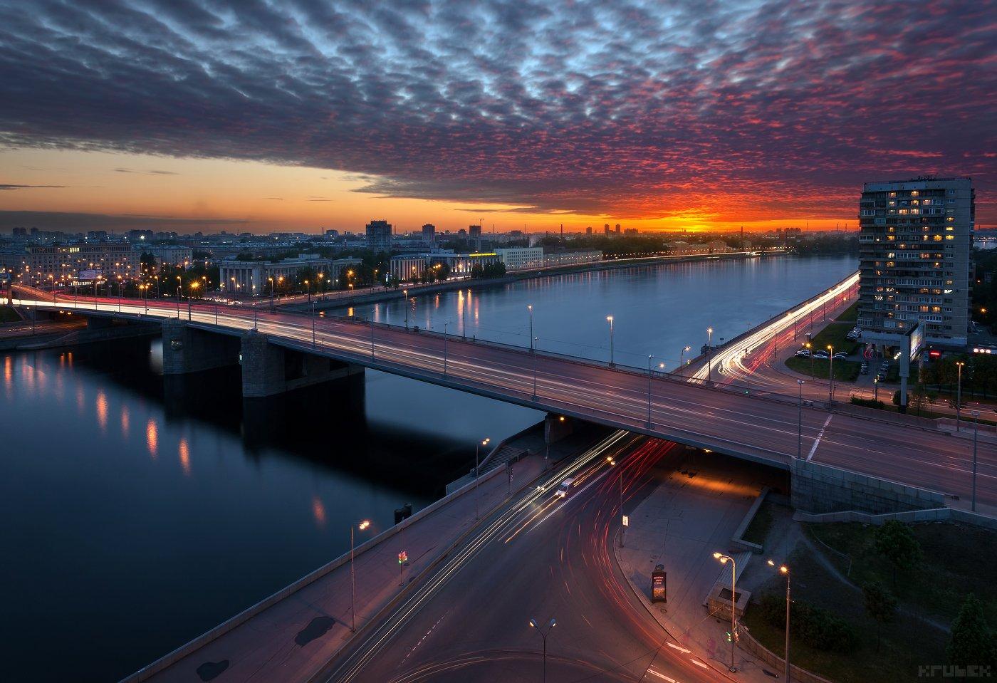 володарский, закат, мост, нева, облака, санкт-петербург, KrubeK