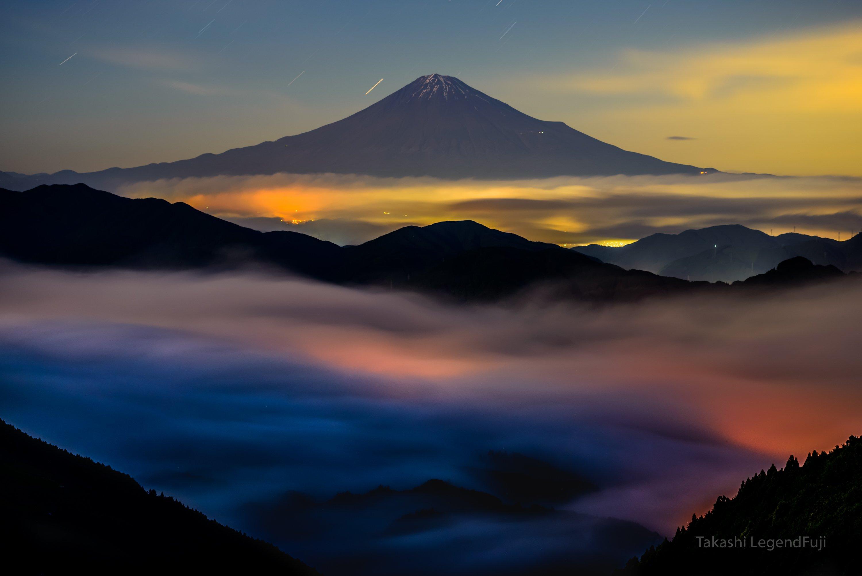 fuji,mountain,japan,cloud,night,light,beautiful, Takashi