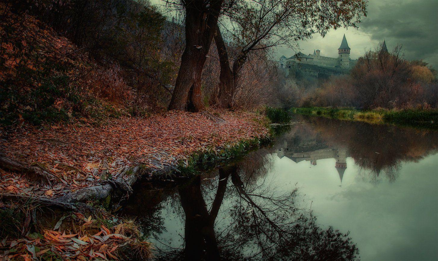 Дерево, Замок, Золотая осень, Каменец-Подольский, Непогода, Отражение, Река, Смотрич, Туман, Тучи, Андрей Кобыща